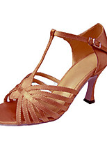 Women's Latin Silk Sandals Performance Buckle Stiletto Heel Almond 3