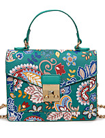Women Tote PU All Seasons Event/Party Flap Twist Lock Black White Green Blue