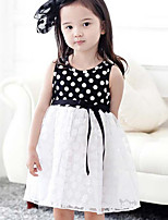 Girl's Solid Polka Dot Dress Short Sleeve