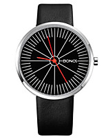 Men's Fashion Watch Quartz Genuine Leather Band Black