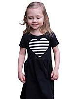 Girl's Solid Dress Cotton Spring Summer Short Sleeve Striped Heart Black Fashion Dresses for Kids Girls 2017