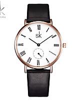 SK Women's Fashion Watch Chinese Quartz Shock Resistant PU Band Casual Luxury Minimalist Black