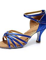 Da donna Balli latino-americani Seta Sandali Per interni Tacco su misura Blu Personalizzabile