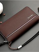 Men Checkbook Wallet PU All Seasons Casual Rectangle Zipper Deep Blue Maroon Chocolate