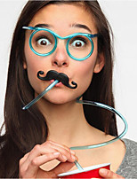 10Pcs/Group Funny Soft Glasses Straw Unique Flexible Drinking Tube Kids Party Accessories