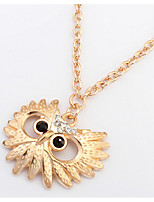 Pendant Necklace Women's Euramerican Fashion Gold  Rhinestone Owl Alloy Necklaces Party Daily Movie Jewelry