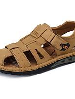 Camel Men's Comfort Nubuck Cow Leather Sandals Comfort Magic Tape Flat Shoes Color Khaki