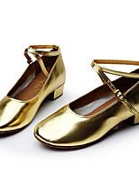 Women's Modern Lace PU Flats Heels Practice Silver Gold