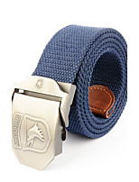 Men's Eagle Pattern Alloy Waist Belt Casual/Business Solid Pure Color Cotton Canvas Belt Royal Blue/Black/Khaki/Army Green