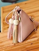 Women Clutch PU All Seasons Casual Triangle Zipper Brown Gray Blushing Pink Black
