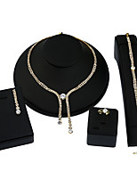 1Set Women's Chain Necklaces Necklace/Earrings Bridal Jewelry Sets Geometric Metal Alloy Rhinestones Geometric For Wedding Birthday Date