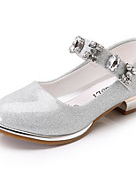 Girls' Flats Comfort Leatherette Spring Fall Casual Walking Comfort Magic Tape Low Heel Blushing Pink Ruby Silver Flat