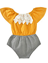 Baby Plaid/Check One-Pieces Cotton Summer Sleeveless Off Shoulder Kids Girls Romper Lace Bodysuits Jumpsuits for Girls