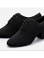 Women's Latin Oxford Fabric Heels Practice Black