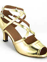 Women's Latin Faux Leather Sandals Performance Criss-Cross Stiletto Heel Ruby Black Gold 3