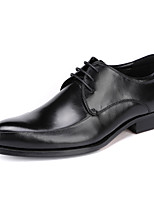 Men's Wedding Shoes Formal Shoes Real Leather Cowhide Spring Fall Office & Career Formal Shoes Burgundy Black Under 1in