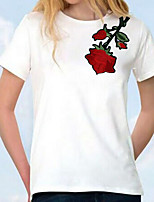 Women's Casual/Daily Simple T-shirt,Embroidery Round Neck Short Sleeves Others