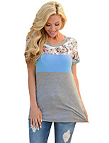 Women's Daily Casual Simple Summer T-shirt,Color Block Round Neck Half Sleeve Polyester Spandex Medium