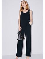 Debardeur Pantalon Costumes Femme,Couleur Pleine Quotidien Décontracté Moderne Eté Sans Manches Col en V