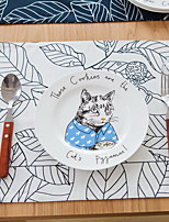 Simple Modern Cartoon Big Leaves Cotton And Linen Table Placemat 32*45cm
