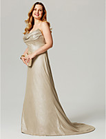 A-Line Cowl Neck Sweep / Brush Train Lycra Formal Evening Dress with Pleats by TS Couture®