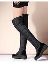 Damen Stiefel Komfort Echtes Leder PU Frühling Winter Normal Schwarz Blau Flach