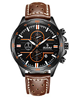 Men's Sport Watch Fashion Watch Japanese Quartz Calendar Water Resistant / Water Proof Genuine Leather Band Brown