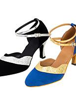 Women's Latin Fleece Sandals Performance Criss-Cross Cuban Heel Blue Black 2