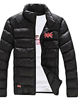 Men's Short Padded Coat,Simple Daily Solid-Cotton Cotton Long Sleeve