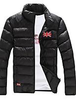 Пальто Простое Короткая На подкладке Для мужчин,Однотонный Повседневные Хлопок Хлопок,Длинный рукав