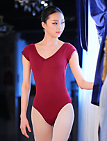 Ballet Leotards Women's Training Cotton Lace Laces 1 Piece Short Sleeve High Leotard