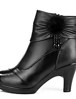 Feminino Botas Conforto Pele Inverno Casual Conforto Preto 2,5 a 4,5 cm