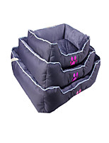 Dog Bed Pet Baskets Solid Footprint/Paw Warm Soft Washable Green Gray
