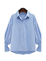 Women's Plus Size Going out Work Simple Sophisticated All Seasons Shirt,Solid Shirt Collar Long Sleeve Rayon