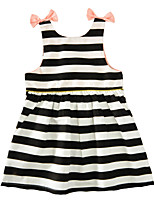 Girl's Striped Dress Cotton Summer Sleeveless Bow Baby Girls Dress Back Button Kids Clothes