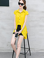 Women's Daily Casual Casual Summer T-shirt Pant Suits,Solid Stand Short Sleeve Inelastic