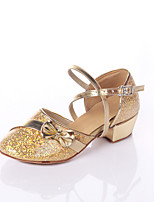 Women's Latin Customized Materials Heels Practice Buttons Splicing Low Heel Purple Silver Gold 1