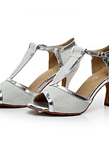 Women's Latin Sparkling Glitter Synthetic Microfiber PU Heels Indoor Buckle Gold Black Silver Gray Purple 2