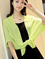 Women's Daily Casual Short Cloak / Capes,Solid Asymmetrical Short Sleeve Cotton Summer Thin Micro-elastic