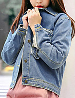 Women's Daily Modern/Comtemporary Spring Denim Jacket,Solid Shirt Collar Long Sleeve Regular Cotton Others