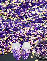 1g/Bottle Fashion Hexagon Glitter Noble Design Nail Art Sparkling Sequins 3D Flash Gorgeous Purple Mermaid Effect Manicure DIY Decoration TL-H