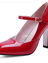 Women's Heels Comfort Patent Leather Spring Casual Comfort Ruby White 2in-2 3/4in