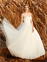 Princess Strapless Floor Length Tulle Wedding Dress with Beading Crystal Detailing Sequins Side-Draped Criss Cross by LAN TING BRIDE®