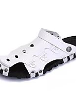 Men's Sandals Comfort PU Spring Fall Outdoor Flat Heel Black White Flat