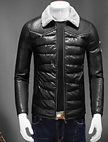Men's Padded Coat,Simple Casual/Daily Solid-Rayon Polyester Long Sleeve