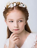 Girl's Crown Headband Pearl Flower And Leaf Decoration Hair Accessory
