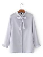 Для женщин На выход На каждый день Лето Осень Рубашка Круглый вырез,Простое Активный Однотонный Длинный рукав,Хлопок,Тонкая Средняя