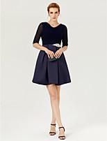 TS Couture Cocktailparty Kleid - Kurz A-Linie V-Ausschnitt Kurz/Mini Tüll Stretch - Satin mitKristall Verzierung Seitlich drapiert
