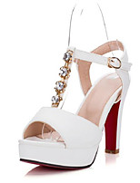 Women's Heels Comfort Summer PU Casual White Black Blushing Pink 4in-4 3/4in