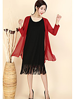 Women's Casual Simple Spring/Fall Trench Coat,Solid Shawl Lapel Long Sleeve Regular 100% Wool